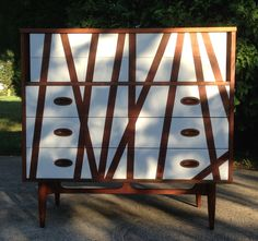 Mid Century Modern Dixie Highboy Dresser refinished with two-toned design by Home Girl Decor