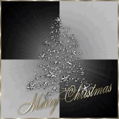 Black,White and Gold Merry Christmas with a Sparkling Silver Christmas Tree Merry Christmas Animation, Christmas Scenery, Silver Christmas Tree, Merry Christmas Greetings, Merry Christmas To You, Christmas Music, Christmas Wishes, Xmas Tree, Christmas And New Year