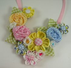@: Fabric Flower Bib Necklace Tutorial PDF version no. by aSundayGirl   Love the use of gingham!!!
