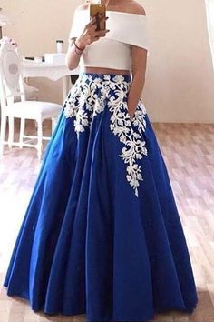 dresses prom dress on sale at reasonable prices, buy Two Piece Prom Dresses Lace Appliques Boat Neck Satin Arabic Style Evening Dresses Elegant Royal Blue Prom Dress Robe De Soiree from mobile site on Aliexpress Now! Formal Evening Dresses, Elegant Dresses, Evening Gowns, Strapless Dress Formal, Evening Party, Beautiful Dresses, Royal Blue Prom Dresses, Prom Dresses Two Piece, Homecoming Dresses