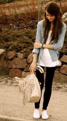 Jean shirt, white tshirt, keds and leggings/skinnies