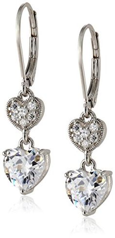 Sterling Silver Cubic Zirconia Double Heart Lever Back Drop Earrings (3.18 cttw).More info for long earrings;costume earrings;large earrings;opal earrings;blue topaz earrings could be found at the image url.(This is an Amazon affiliate link and I receive a commission for the sales)
