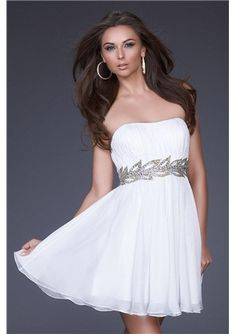 Two Piece White Evening Dresses 2015 Strapless Pick Up Satin Tea ...