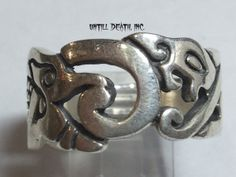 Aztec Mayan Serpent Jaguar 925 Sterling Silver Ring. All Men's US Sizes. Custom Made to Order in USA. $75.00