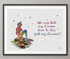 The Little Mermaid Ariel on the Rock Quote Watercolor illustrations Wedding Gift Wall Art Poster Wall Decor A Wall Hanging  [NO 52]