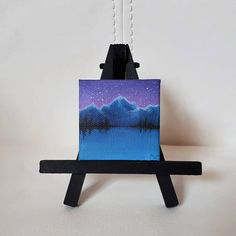 Tiny Landscape Painting Mountains Tiny Art Winter Lake