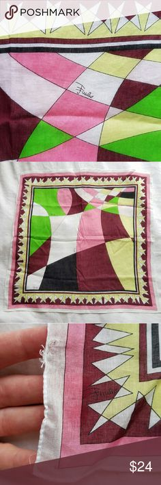 """Charming Emilio Puuci cotton scarf / hankie 17.5"""" square cotton with signature. Tiny holes in one corner from tags, otherwise excellent like-new condition. Emilio Pucci Accessories Scarves & Wraps"""