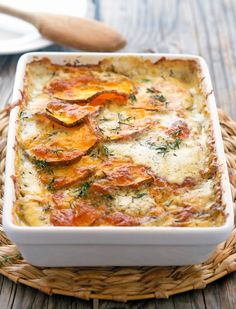 Scalloped Sweet Potatoes | The Iron You Scalloped Sweet Potatoes, Thanksgiving Recipes, Veggie Recipes For Christmas Dinner, Holiday Dinner, Christmas Recipes, Recipes Dinner, Side Dish Recipes, Holiday Recipes, Thanksgiving Holiday