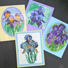 For today's post I used the SENTIMENTAL IRIS Clear Stamp Set CL 5202 and my Kuretake watercolors. Remember last Monday when I told you that I had cut my iris stamp to separate it from the leaves