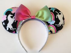 Unicorns and Rainbows Mouse Ears with Silver by DodysDoodads