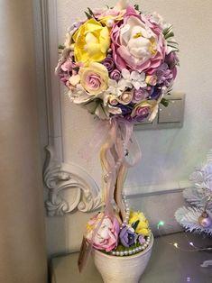 Купить Топиарий из полимерной глины Deco - цветы, нежность, Дерево счастья, флористика, глина
