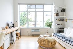 West Coast Casual Meets Southwest Minimalism in Brooklyn: gallery image 35 Window Air Conditioner, Brooklyn Apartment, Living Room Photos, Living Rooms, Rental Apartments, Apartment Therapy, Studio Apartment, Apartment Ideas, Apartment Design