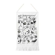 Woodland Alphabet Printed Tapestry - - Maisonette Woodland Critters, Curated Shopping, Alphabet Print, Buy Buy Baby, Mini Boden, Pottery Barn Kids, Crates, Organic Cotton, Tapestry