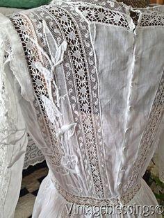 Amazing Antique Edwardian White Lace Lawn Tea Dress Morning Glories | eBay
