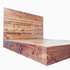 Rustic / Industrial Bed Frame with Headboard (but I'd want a darker wood) Rustic Wood Bed Frame, Industrial Bed Frame, Rustic Industrial Bedroom, Industrial Flooring, Custom Bed Frame, Bed Frame And Headboard, Wood Beds, New Furniture, Furniture Ideas