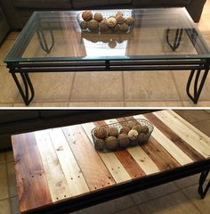 Best Coffee Table Ideas (Modern, Unique, and Simple Design) Coffee table makeover - from glass to pallet wood for a rustic feel.Coffee table makeover - from glass to pallet wood for a rustic feel. Glass Top Coffee Table, Cool Coffee Tables, Coffe Table, Decorating Coffee Tables, Coffee Table Design, Glass Tables, Refurbished Coffee Tables, Coffee Table Makeover, Design Lounge
