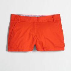 "J.Crew Factory 3"" chino short ($23) ❤ liked on Polyvore featuring shorts, short shorts, zipper shorts and chino shorts"