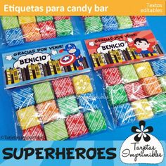 Etiquetas para candy bar personalizadas. Decoraciones imprimibles de fiesta con textos editables de superhéroes. Thor, Hulk, Batman, Superman, Spiderman, Ironman, Capitán América y Flash.