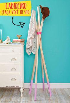 Cabideiro fácil, prático e todo lindo para chamar de seu! (Faça você mesmo!) | Um lar para Amar - Blog de decoração.