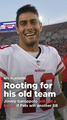 San Francisco 49ers QB Jimmy Garoppolo stands to make some money if the Patriots win the Super Bowl.