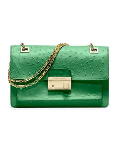 Go green. Michael Kors Gia Ostrich-Embossed Shoulder Flap Bag.
