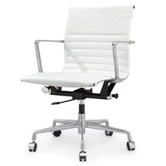 M346 Office Chair in White Italian Leather