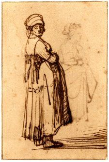 A pregnant woman standing; WL to r, looking round to front, wearing a turban, her arms folded in front. c.1639 Pen and brown ink, on brown prepared paper Verso: Sketch of a young woman, standing in profile to l Pen and brown ink