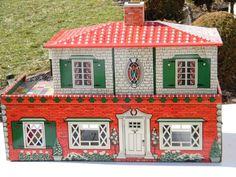 Vintage 1950's Superior Toy Tin Litho Dollhouse mfd. by T. Cohn, Inc.  .....Rick Maccione-Dollhouse Builder www.dollhousemansions.com