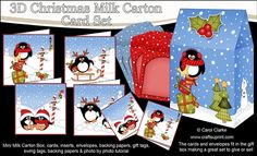 **COMING SOON** -  This lovely 3D Christmas Penguin Cards in a Mini Milk Carton Bumper Kit will be available here within 12 hours - http://www.craftsuprint.com/carol-clarke/?r=380405