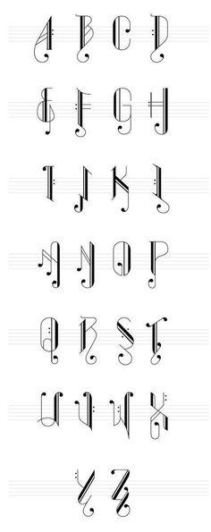 Ideas tattoo fonts calligraphy alphabet hand lettering for 2019 Diy Tattoo, Tattoo Fonts, Tattoo Ideas, Typography Tattoos, Music Notes Letters, Music Notes Art, Diy Letters, Tattoo Musik, Letters Tattoo