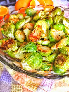 Roasted Brussels Sprouts with a Balsamic Mandarin Orange Glaze. A nutritious and delicious veggie side dish. Perfection with bitter and sweet.  #veggies #hearthealthy #foodie