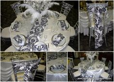 Black and White Damask Chair Sashes and Table Runners Damask Wedding, Chair Sashes, White Damask, Dramatic Look, Table Runners, Colours, Table Decorations, Black And White, 50th