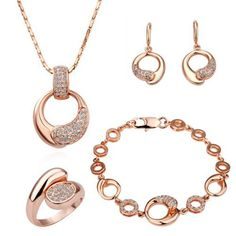LEKANI Women 18K Rose Gold Palted Necklace, Earrings, Ring and Bracelet Wedding Jewelry Sets -- $29.99 + $4.99 shipping
