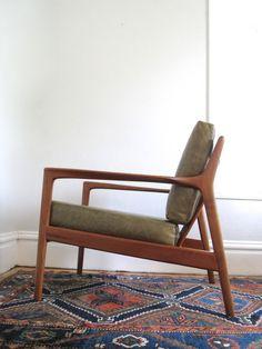 Folke Ohlsson Teak  Leather Lounge Chair