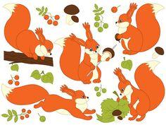 Squirrel Clipart  Digital Vector Woodland Squirrel by TanitaArt