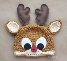 New Item!!  Rudolph Reindeer Crochet Hat/Rudolph the Red-nosed Reindeer by CraftySchmaftyMe, $20.00.  Original pattern and photos by Repeat Crafter Me:  http://www.repeatcrafterme.com/2013/11/crochet-reindeer-antlers-pattern.html http://www.repeatcrafterme.com/2012/12/crochet-rudolph-reindeer-hat-pattern.html