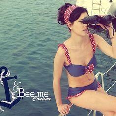 Point of U Four Square, Bikinis, Swimwear, Girl Fashion, Polka Dots, Couture, Navy, My Style, Instagram Posts
