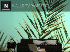 A mural of palm leaves on a turquoise background Found in TSR Category 'Sims 4 Walls' Sims 4 Tsr, Turquoise Background, Sims Community, Sims Resource, Electronic Art, Wall Murals, Home Decor, Content, Wallpaper Murals