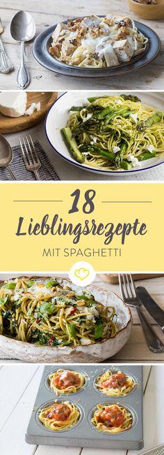 Schnell gemacht mit nur einem Topf, mit ausgefallenem Pesto oder raffiniert mit Rotwein gekocht - hier kommen Spaghetti 18 Mal ganz groß raus!