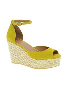 3a9f90bbc7 ASOS HAWLEY Suede Espadrille Wedges Yellow Wedges