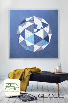 Globe is a modern paper pieced wall quilt by Zen Chic, making use of a Layer Cake from the April 2017 available collection TRUE BLUE by Zen Chic for Moda. Download your PDF pattern today!