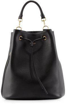 Saint Laurent Leather Medium Drawstring Backpack, Black