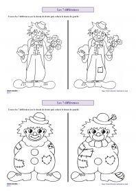 Les 7 différences de carnaval 6 fiches avec des personnages de carnaval (clown, Arlequin, indien, cowboy) pour s'entraîner à chercher les 7 différences entre deux images.