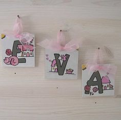 EVA Wood MDF 3 Wooden Letters organza ribbon by bluepeppertime