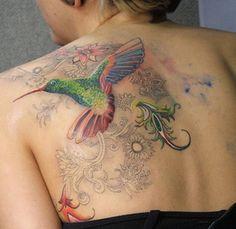colorful hummingbird back piece