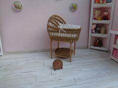 Dollhouse Miniature Wicker baby cradle crib от WickerMiniature