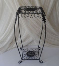 Vintage Wrought Iron Metal Plant Stand Garden Art Deco Metal Lawn Patio Table #Unbranded Metal Plant Stand, Plant Stands, Ebay Shopping, Patio Table, Wrought Iron, Garden Art, Lawn, Art Deco, Plants