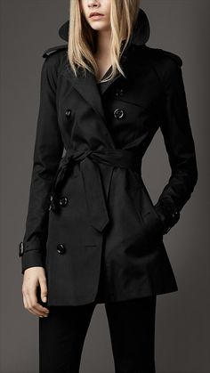 Ladies Short Black Trench Coat