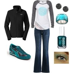 Grey Black Teal Fall/Winter Casual Sporty Outfit