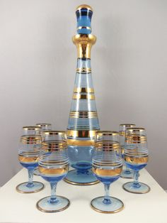 Art Deco Decanter Set Blue & Gold